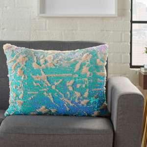 turquoise blue multicolor faux fur pillow