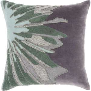 floral green grey velvet embroidered pillow