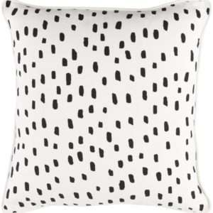 black and white spotted throw pillow