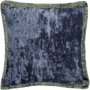 crushed velvet blue charcoal throw pillow