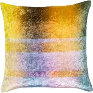 orange crushed velvet throw pillow with light blue stripes