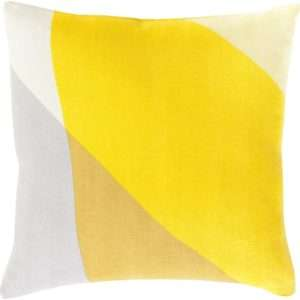 color blocked yellow white gray throw pillow