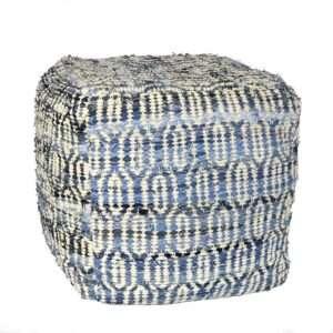 blue cotton square pouf