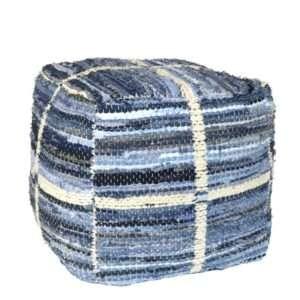 blue white square woven pouf