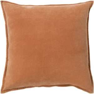orange cotton velvet throw pillow