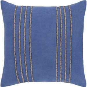 blue tan woven pillow