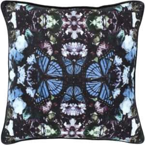 blue black butterfly pillow