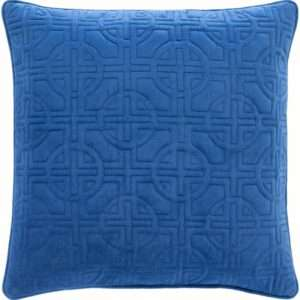 blue quilted throw pillow
