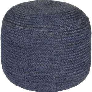 blue woven pouf