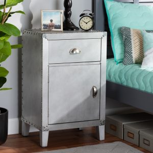 silver bed side cabinet
