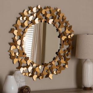 round gold butterfly mirror